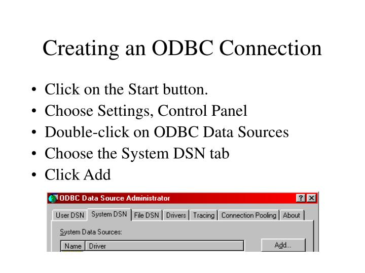 Creating an ODBC Connection