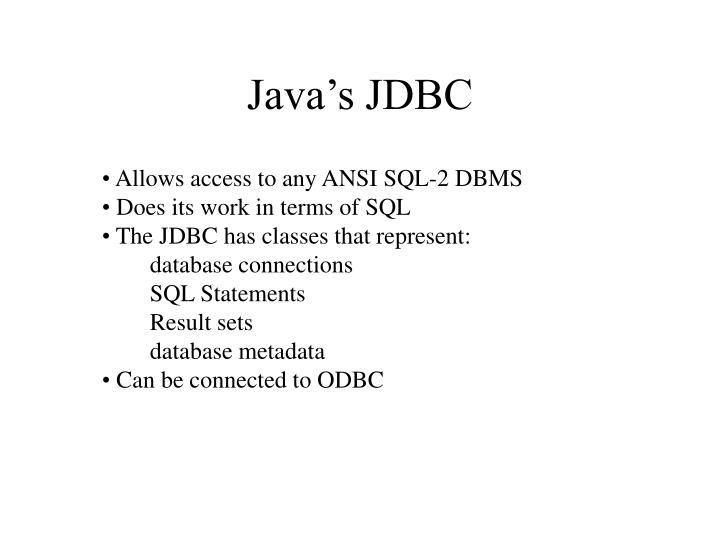 Java's JDBC