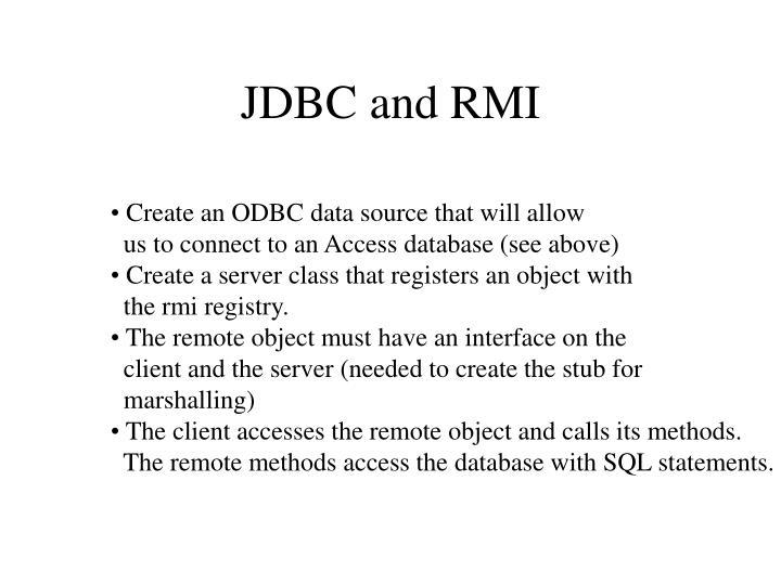 JDBC and RMI