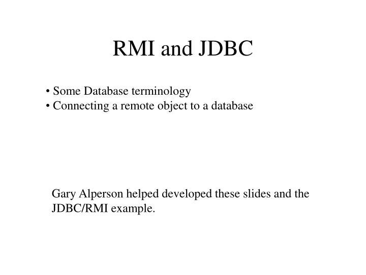 RMI and JDBC