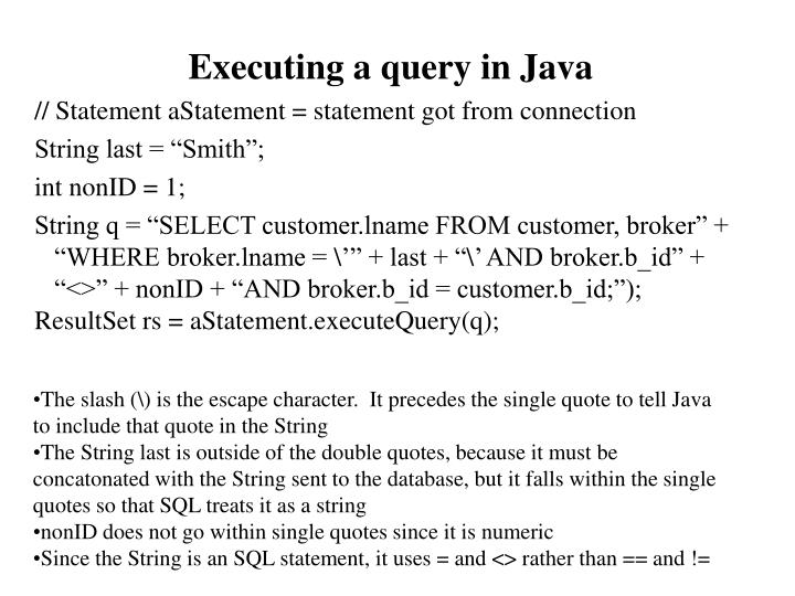 Executing a query in Java