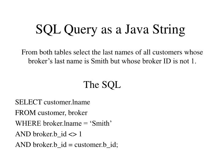 SQL Query as a Java String