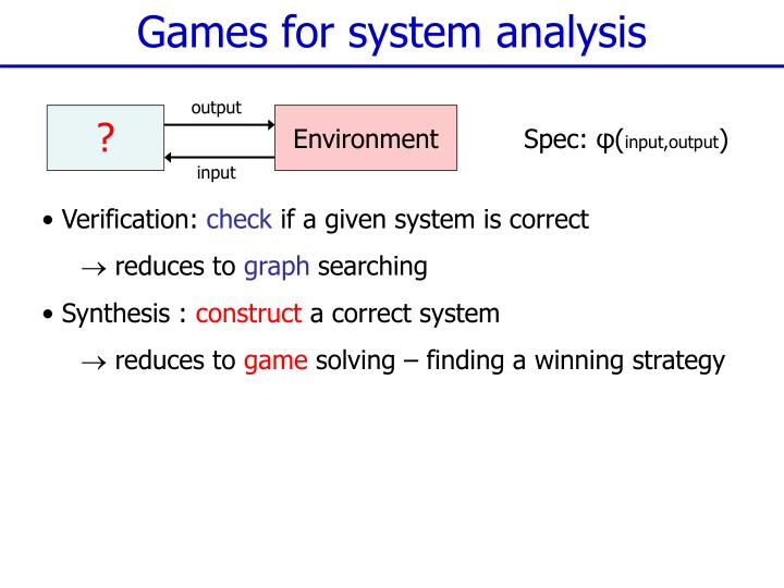 Games for system analysis