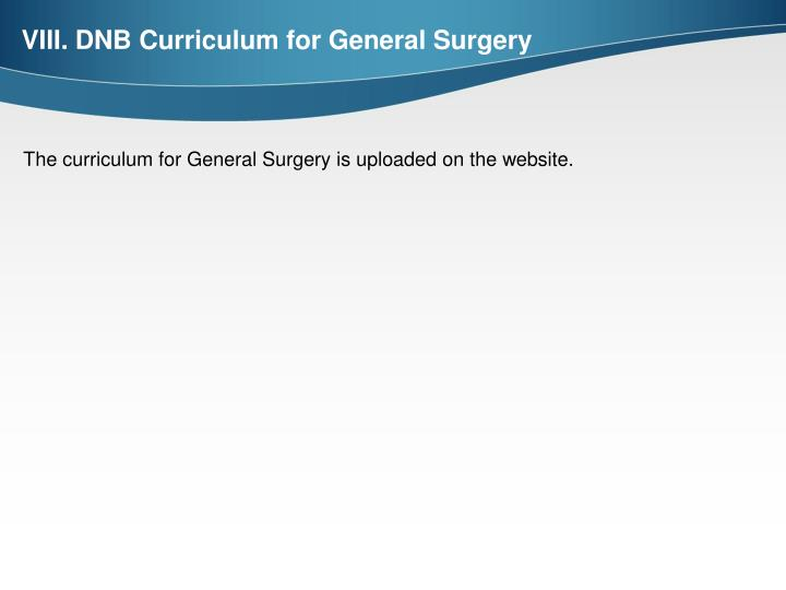 VIII. DNB Curriculum for General Surgery
