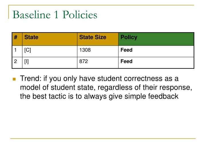 Baseline 1 Policies