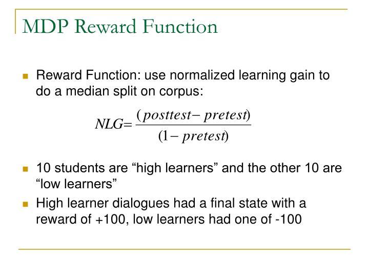 MDP Reward Function