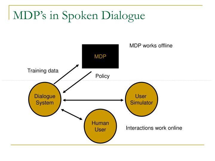 MDP's in Spoken Dialogue