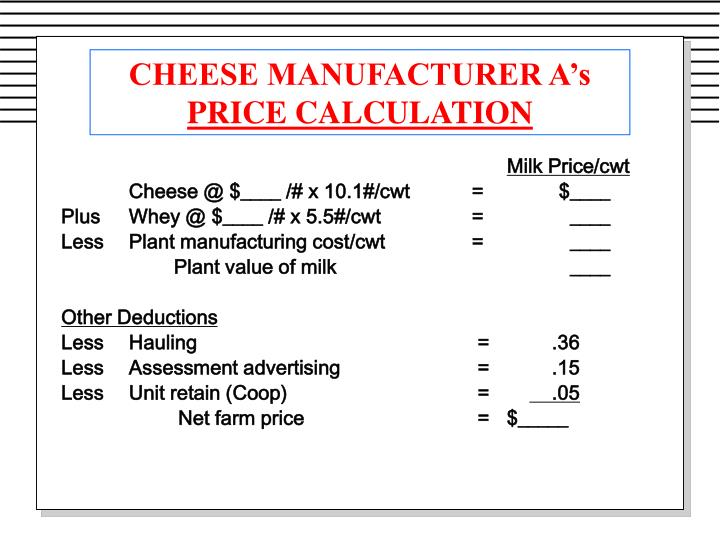 CHEESE MANUFACTURER A's