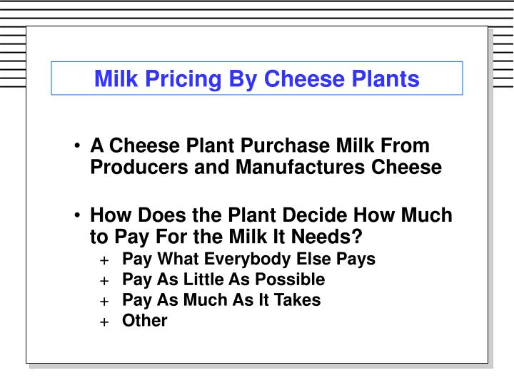 Milk Pricing By Cheese Plants