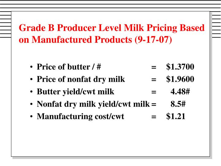 Grade B Producer Level Milk Pricing Based on Manufactured Products (9-17-07)
