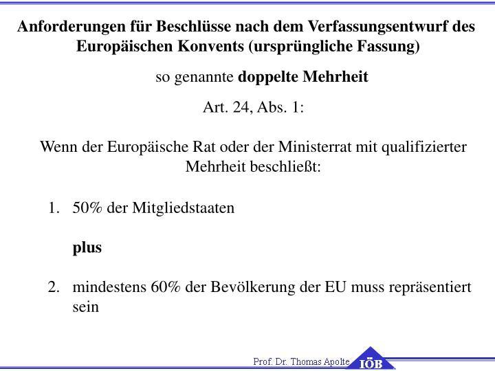 Anforderungen für Beschlüsse nach dem Verfassungsentwurf des