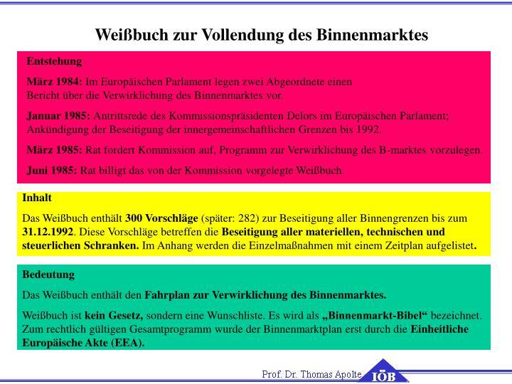 Weißbuch zur Vollendung des Binnenmarktes