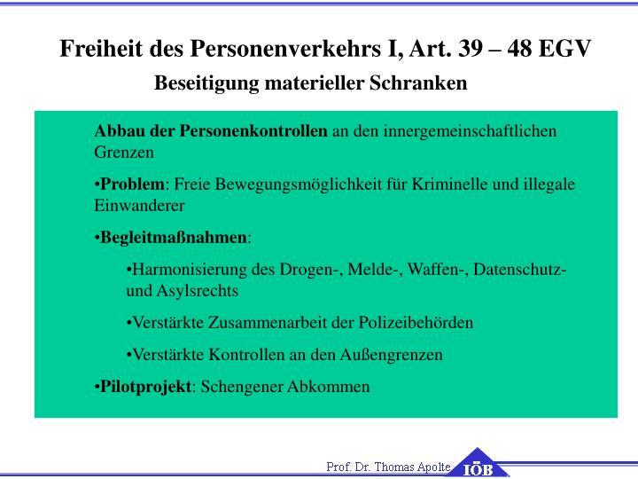 Freiheit des Personenverkehrs I, Art. 39 – 48 EGV