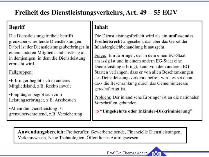 Freiheit des Dienstleistungsverkehrs, Art. 49 – 55 EGV