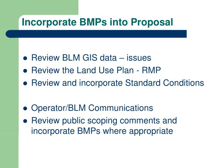 Incorporate BMPs into Proposal