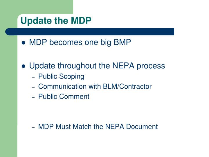 Update the MDP