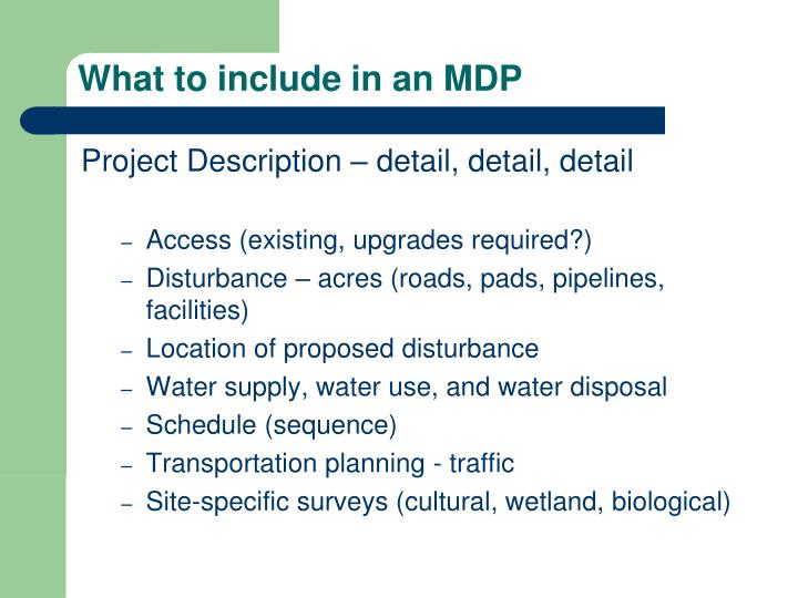 What to include in an MDP