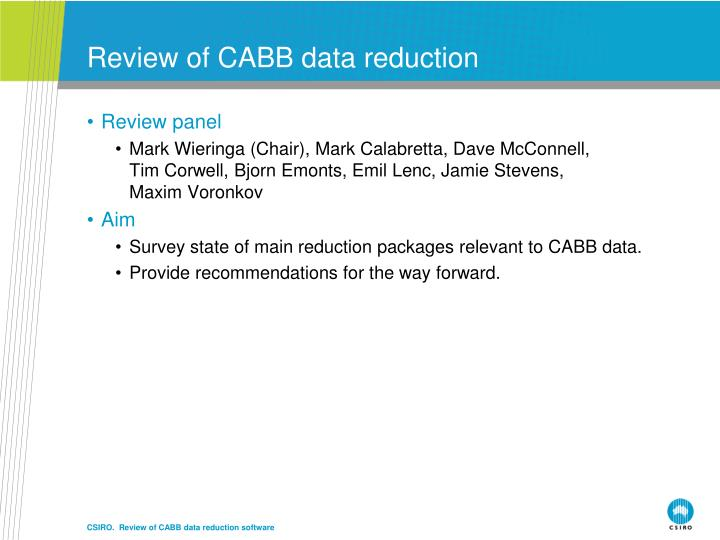 Review of cabb data reduction