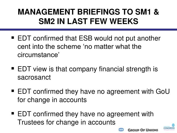 MANAGEMENT BRIEFINGS TO SM1 & SM2 IN LAST FEW WEEKS