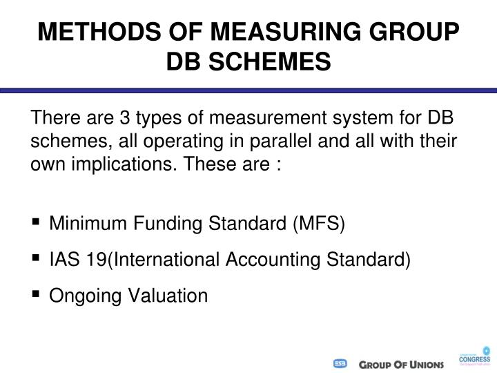 METHODS OF MEASURING GROUP DB SCHEMES