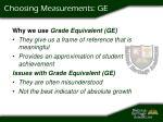 choosing measurements ge