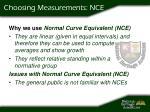 choosing measurements nce