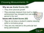 choosing measurements ss