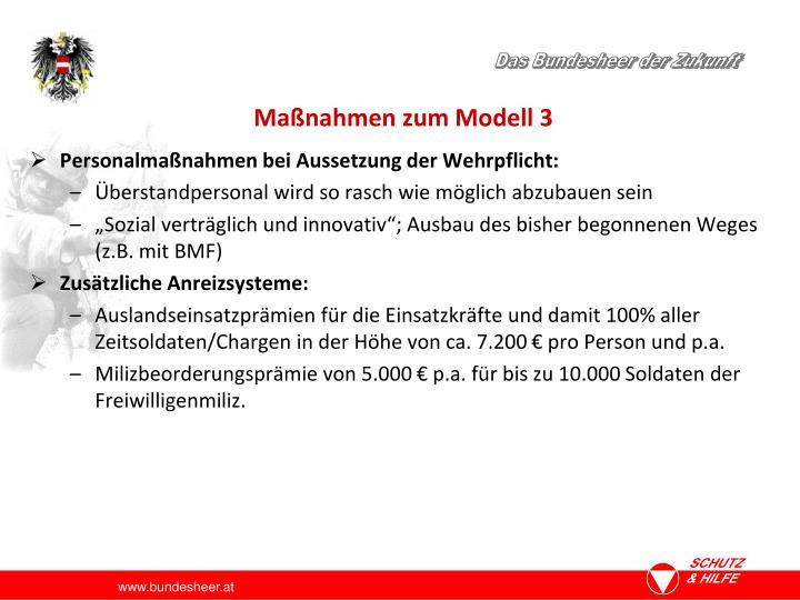 Maßnahmen zum Modell 3