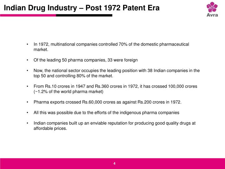 Indian Drug Industry – Post 1972 Patent Era