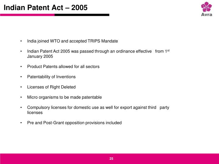 Indian Patent Act – 2005