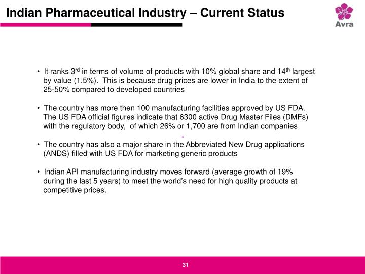 Indian Pharmaceutical Industry – Current Status