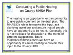 conducting a public hearing on county mhsa plan1