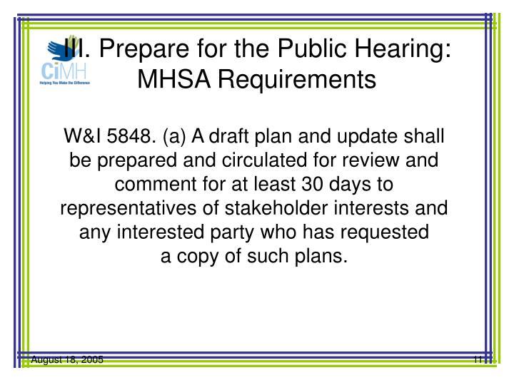 III. Prepare for the Public Hearing:
