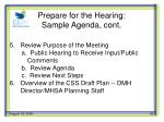 prepare for the hearing sample agenda cont