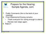 prepare for the hearing sample agenda cont1