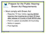 prepare for the public hearing brown act requirements