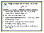 prepare for the public hearing logistics