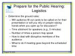 prepare for the public hearing logistics1