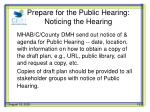 prepare for the public hearing noticing the hearing