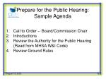 prepare for the public hearing sample agenda