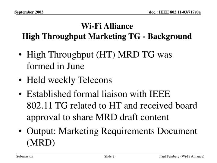 Wi fi alliance high throughput marketing tg background