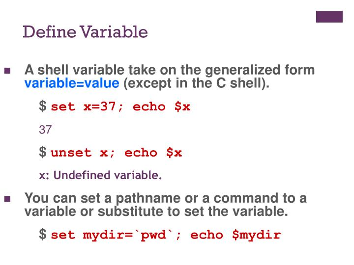 A shell variable take on the generalized form