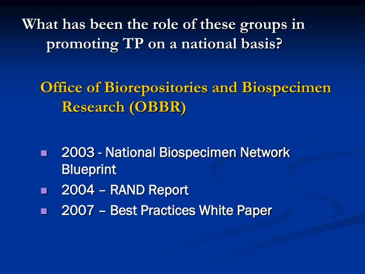 What has been the role of these groups in promoting TP on a national basis?