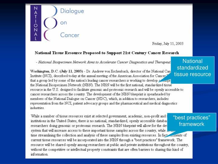 National standardized tissue resource