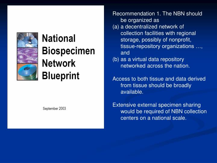 Recommendation 1. The NBN should be organized as