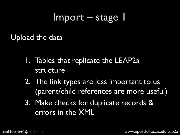 Import – stage 1