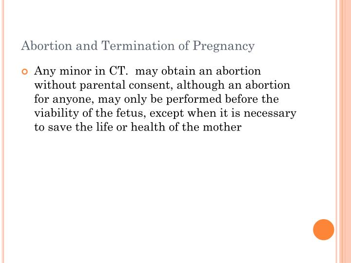 Abortion and Termination of Pregnancy