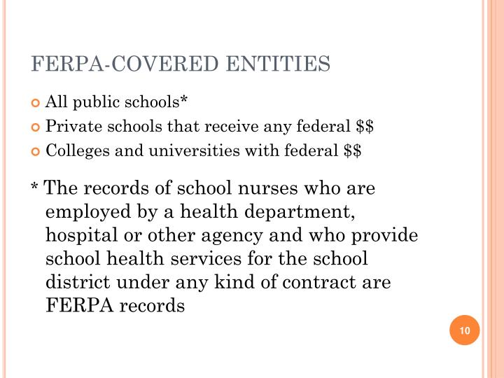 FERPA-COVERED ENTITIES