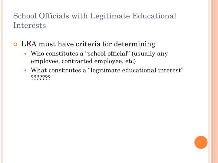 School Officials with Legitimate Educational Interests