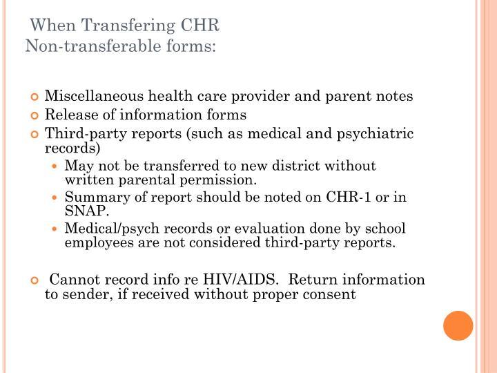 When Transfering CHR